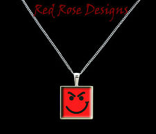 ~BON JOVI HAVE A NICE DAY THEMED, SMILING FACE, PENDANT NECKLACE~