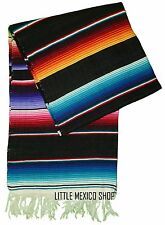 SERAPE Blanket MULTI BLACK Mexican SOUTHWESTERN 5' x 7' Falsa Serape Yoga Throw