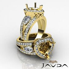 3Stone Halo Pave Diamond Engagement Ring 14k Yellow Gold Heart Semi Mount 1.5Ct
