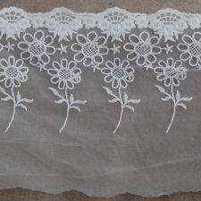 1 Metro Flor Floral Bordado Tul ribete de encaje Girasol-Blanco Marfil - 18cm