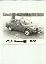 "ALFA ROMEO 2000  PRESS PHOTO  ""SALES BROCHURE"""