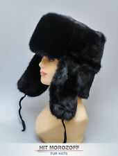 Black MINK FUR HAT Russian Ushanka Trooper Nerz Chapka Fellmütze Fell Mütze
