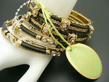 $48 Spring Street *India* 8 pc Rhinestone Bangle Bracelet SET Black/Goldtone