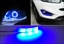 2X Blue 3SMD LED Strip Light Headlight Projector Gauge Cluster Foot Area Lamps