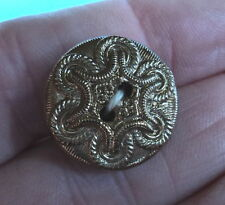 ART DECO BLACK GLASS WITH GOLD BRAID / ROPE MILITARY STYLE  BUTTON 3/4  INCH