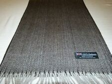 100% Cashmere Winter Scarf Black Grey Scotland Wool Check Herringbone Plaid K1