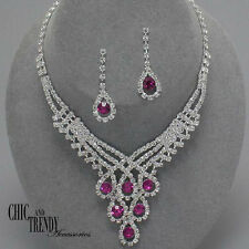 PRINCESS STYLE DARK PINK CLEAR CRYSTAL PROM WEDDING FORMAL NECKLACE JEWELRY SET