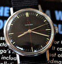Stunning & RARE Black Crosshair Dial Vintage 1965 RED Omega Cal 601 Watch Runs +