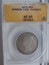 Canada 1870 LCW 50 Cents Silver Coin ANACS VF20 Details Cleaned