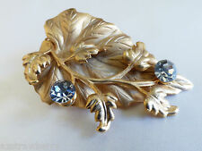Ivy leaf Floral flower design Gold tone Crystal hair pin dress scarf clip