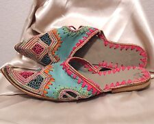 Handmade Indian Middle Eastern Leather Embroidered Vintage Shoes Sz 7
