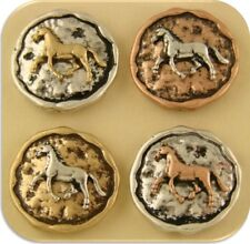 2 Hole Beads Horse Circles 3T Rustic~ Equestrienne Western Cowboy ~Sliders QTY 4