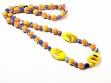 """15"""" vtg Czech necklace Egyptian revival multicolor stripe glass beads R. Hubner"""