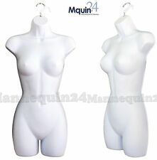 1 NEW Female Dress Mannequin Body Form (Hard Plastic /White) & Hanging Hook