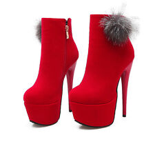Women's High Heels Stiletto Shoes Suede Fabric Platform Ankle Boots UK Size O235