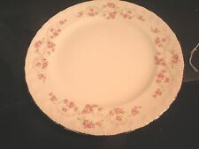 "Pope Gosser 10"" Dinner Plate Pink Roses Gold Trim Unknown Pattern"