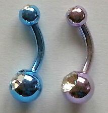 Bauchnabelpiercing 2er Set in 2 Farben mit je 2 Kristallen PNST072