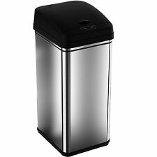13 Gal Stainless Steel Kitchen Trash Can Garbage Bin Waste Automatic Lid Sensor