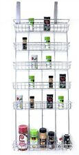 Origami Spice Rack - 6 Tier Hanging Steel Frame Suction Mount Door Shelf