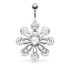 14g Belly Button Ring Jeweled Belly Ring Flower Dangle Belly Navel Body Jewelry