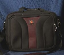 Nice Black & Wine WENGER SWISS ARMY The Degree SOFT BRIEFCASE Laptop Case