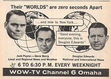 1961 Tv Ad~JACK PAYNE~GENE BERRY~DOUGLAS EDWARDS~NEWS on WOW~OMAHA,NEBRASKA