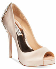 Badgley Mischka Kiara Platform Evening Pumps Size 8 Latte Satin Retail $245