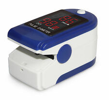 FDA Cleared Fingertip LED Pulse Oximeter CMS-50DL in Blue with Case and Lanyard