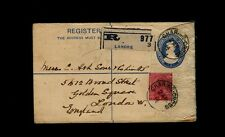 India Registered Letter Envelope 1914 Posted at LAHORE to GOLDEN SQUARE, London