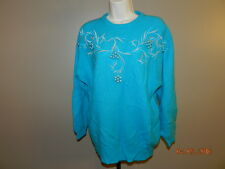 CP COLLECTION VINTAGE CARDIGAN SWEATER L/S Beaded Teal lambswool angora L 80's