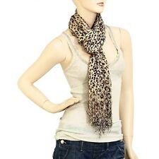 Beige and Brown Leopard Shimmer Scarf