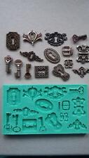 Silicone Mould KEYS LOCKS HINGES Sugarcraft Cake Decorating Fondant / fimo mold