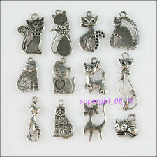 12Pcs Antiqued Tibetan Silver Tone DIY/Cat Mixed Charms Pendants