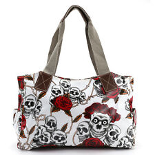 Vintage Skull Rose Oilcloth Shoulder Bag Girls School Bag Satchel Tote Handbag