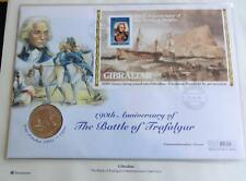1995 B/U GIBRALTAR £5 COIN PNC + COA 190th ANN  OF THE DEATH OF LORD NELSON
