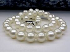 """18k White Gold Plated AAA FRESH WATER SHELL PEARL Necklace AAA 18"""""""