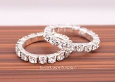 1 Row Vogue Jewelry Silver Plated Crystal Rhinestone Ring Elastic Rings  1pcs