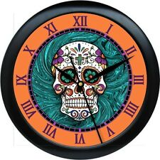 Sugar Skull 10.75 Wall Clock Day of the Dead Orange & Turquois Tatoo Parlor Gift