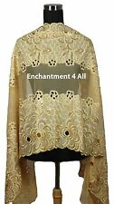 Large Elegant Embroidered Floral Lace Scarf Shawl Handmade w/ Sequins, Golden