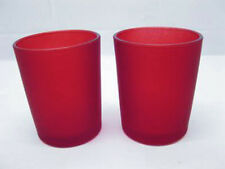 48 Red Frosted Shot Glass Votive Tealight Candle Holders Wedding Event Party NIB