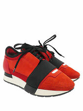 """Balenciaga """"Race Runner"""" Red Leather/Mesh/Suede and Black Elastic Sz 5 Sneakers"""