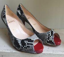 Louboutin Taupe Python Snakeskin Leather Peep Toe Pump SZ 38 Retail $1195