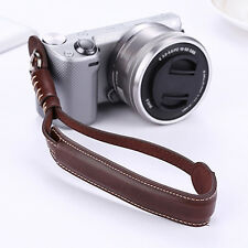 Coffee Genuine Leather Camera Hand Wrist Strap For Samsung Panasonic Sony Camera