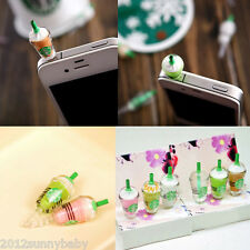 1X Novelty Cup Cell Phone Charm 3.5mm Anti Dust Proof Earphone Ear Cap Plug