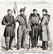 UNIFORMI DEI CACCIATORI DELLE ALPI di GARIBALDI.Risorgimento. Stampa Antica.1859