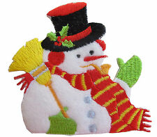 "#3160 3"" Snowman Embroidery Iron On Applique Patch"