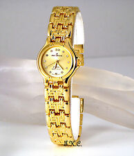 18k Gold Plated Brick Design Deco Chic Ladies Watch W/ Swarovski Crystals, Gems