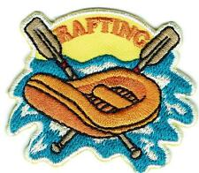 Girl Boy Cub RAFTING orange Fun Patches Crest Badge SCOUT GUIDE White Water Boat