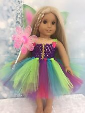 American Girl Rainbow fairy Tutu Dress Wings And Wand clothes fits all 18""