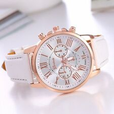 Fashion Women's Date Geneva Stainless Steel Leather Analog Quartz Wrist Watch